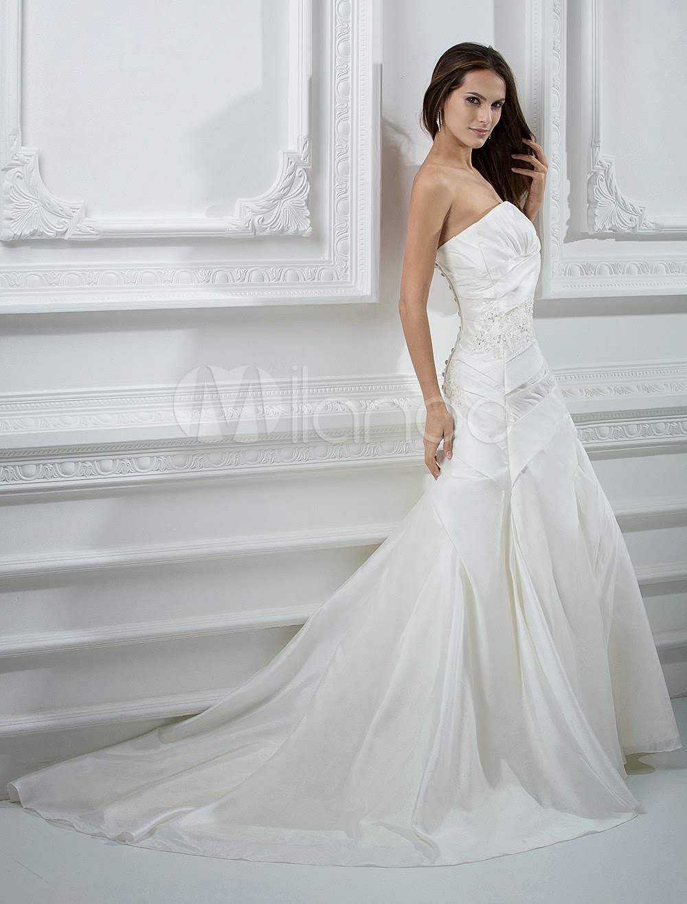 China Wholesale Dresses - A-line Strapless Beading Embroidery Taffeta Wedding Dress