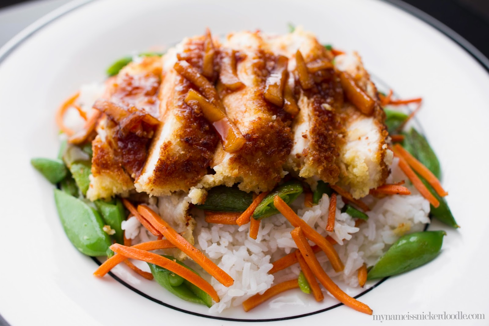 Fuji Chicken recipe.  Crispy chicken with a sween and slighly sour sauce.     My Name Is Snickerdoodle