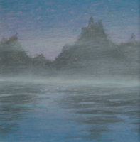 Pale Purple and Blue Misty Mountains Reflected in Lake