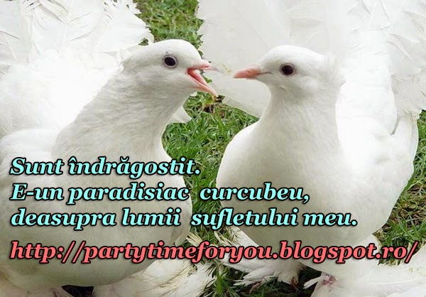 Sunt îndrăgostit  E-un paradisiac curcubeu, deasupra lumii sufletului meu