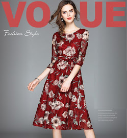 2018 Half Sleeve Floral Maroon Lace Flare Dress