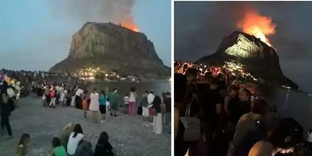 Στις φλόγες το κάστρο της Μονεμβασιάς – Φωτογραφίες και Βίντεο