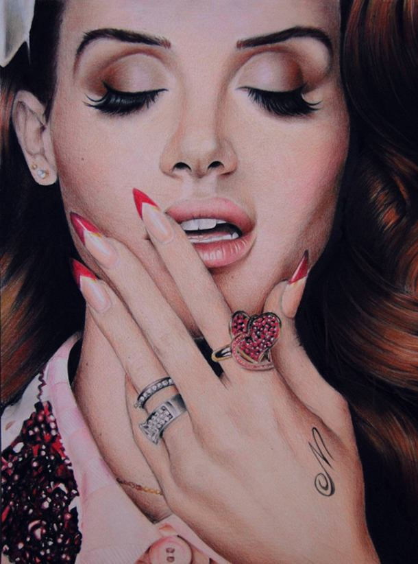 Lana Del Rey Color Pencil Drawing By Valentina Zou