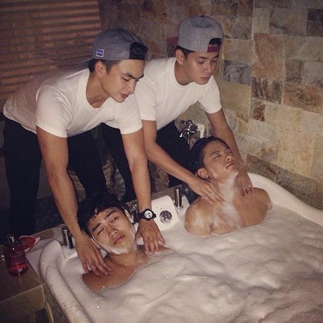 Daniel Padilla in the bathtub