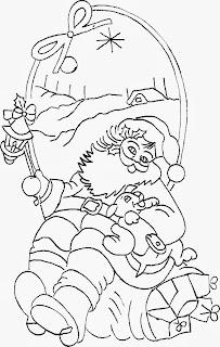 desenho de papai noel tirando uma soneca