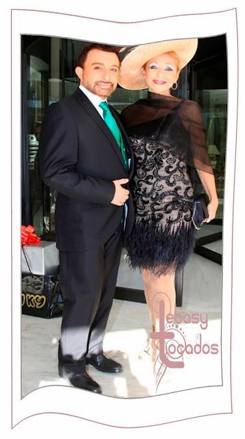 Jenny Llada perfecta con pamela acompañando a Jose Manuel Parada a la boda de Víctor Janeiro y Beatriz Trapote.