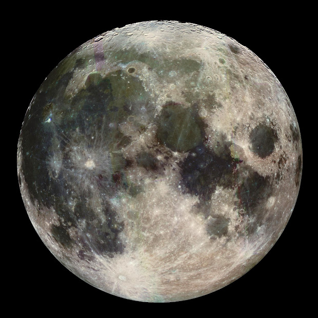 The Moon in color as seen by Galileo on its way to Jupiter!