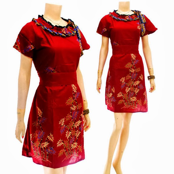 DB3714 Mode Baju Dress Batik Modern Terbaru 2014