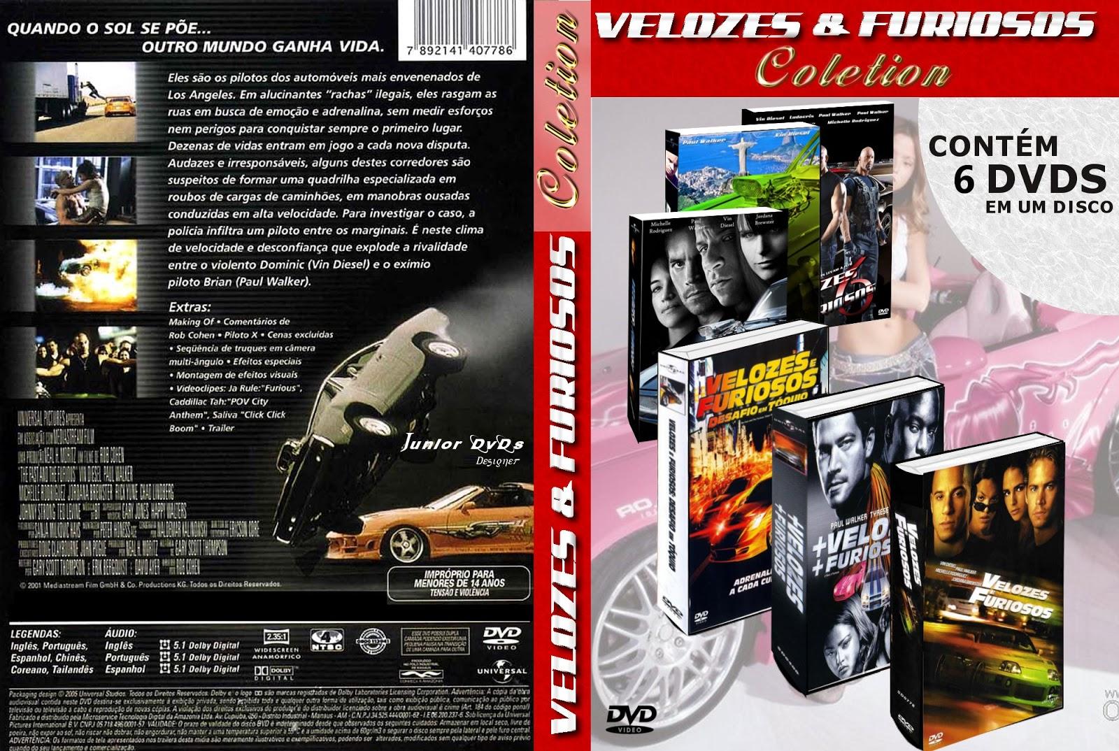 Coleção Velozes e Furiosos DVDRip XviD Dublado COLE C3 87 C3 83O VELOZES E FURIOSOS    JUNIOR DVDS DESIGNER