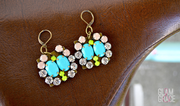 handmade rhinestone jeweled statement earrings