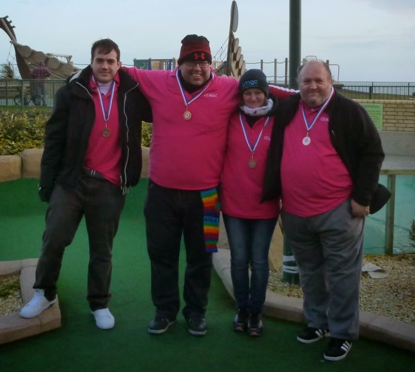 The 2015 bronze medalists from the Cambridgeshire and Essex Mini Golf Club. From l-r Chris Wood, Adrian Amey, Emily Gottfried, Mark Wood