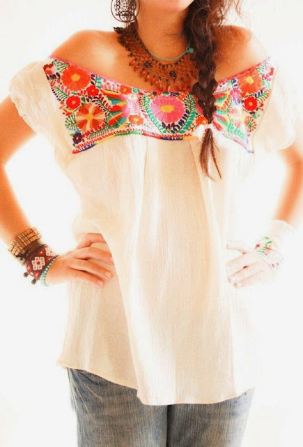 Los Pajaritos Crocheted Off Shoulder Mexican Embroidered With Jeans