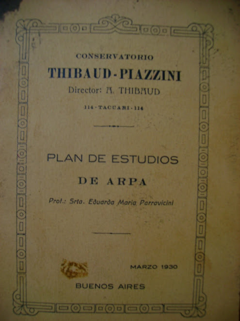 LIBRETA DE ESTUDIOS DE LA CATEDRA DE ARPA, DEL CONSERVATORIO PIAZZINI