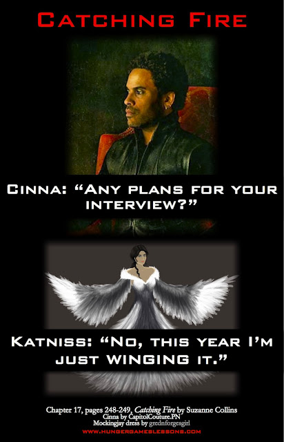 "Catching Fire Interview Foreshadowing ""Just Winging It"" www.hungergameslessons.com"