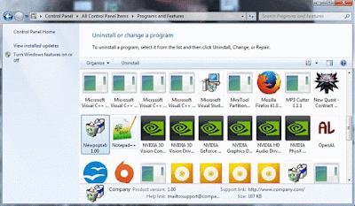 uninstall Newpoptab adware via Control Panel