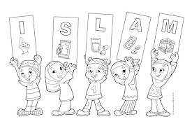 Muslim Family Coloring Page