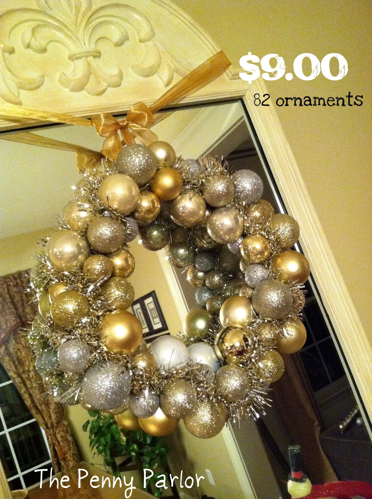 dollar store christmas ball wreath - Christmas Ball Wreath