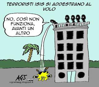 isis, terrorismo, simulatori di volo, aeroplani, satira vignetta