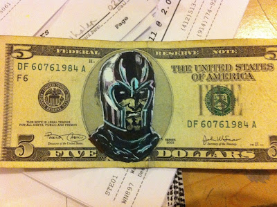 money art, x-men money, 5 dollar bill