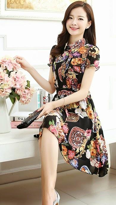New 2015 Spring Summer 4-Floral Print Short Sleeve High Neck Chiffon Midi Dress