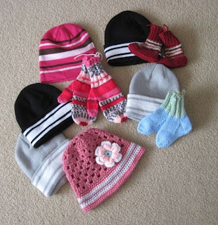 hats, mittens, booties