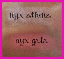nyx pink lipsticks athena and gala