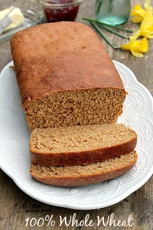 Soft 100% Whole Wheat Bread