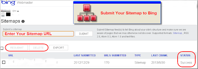 Sitemap Submission in Bing Webmaster Tools