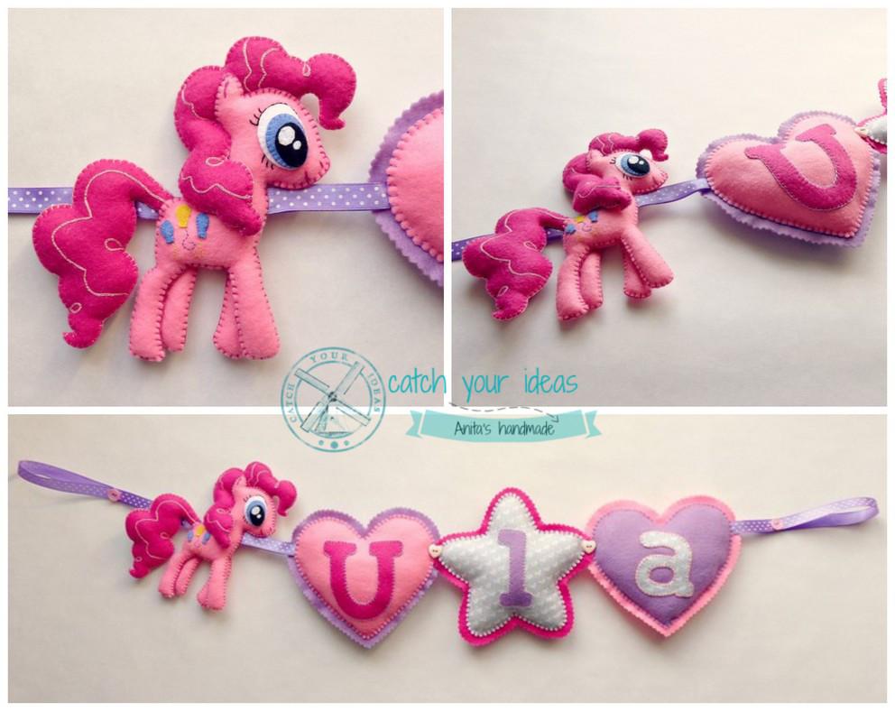 filcowa girlanda z filcu, kucyk Pinky Pie z filcu, My Little Pony Pinky Pie felt