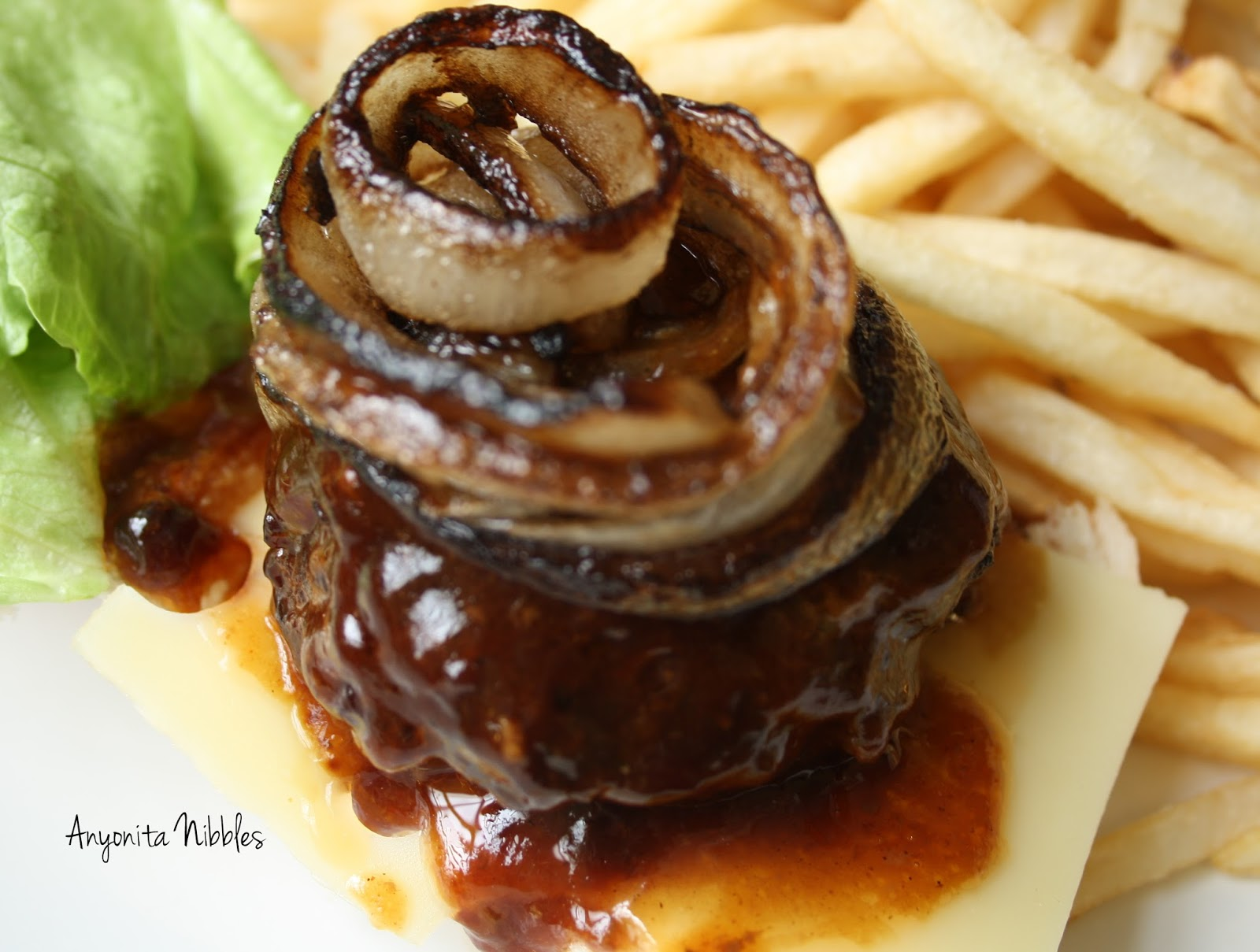 Perfectly caramelized onion on top of a crockpot barbecue burger from ...