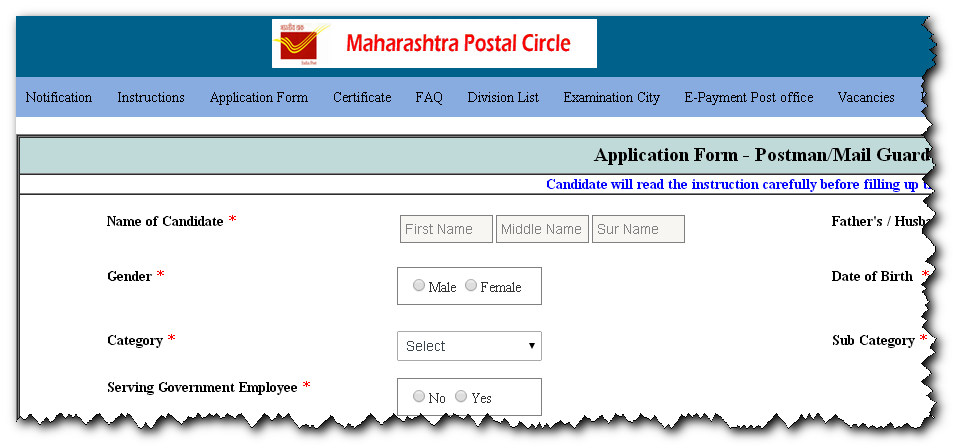 Maharashtra Postal Circle  Application Form