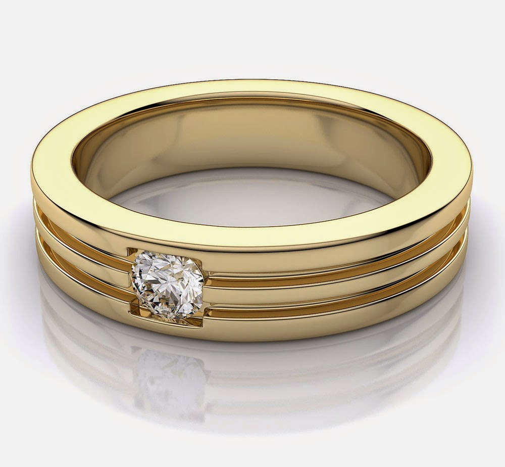 Men's Yellow Gold Light Wedding Rings with White Diamond Model pictures hd