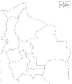 Mapa blanco y negro de Bolivia, mapa para pintar