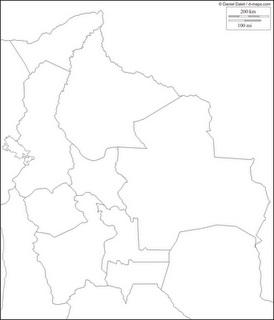 Mapa blanco y negro de Bolivia, mapa para pintar