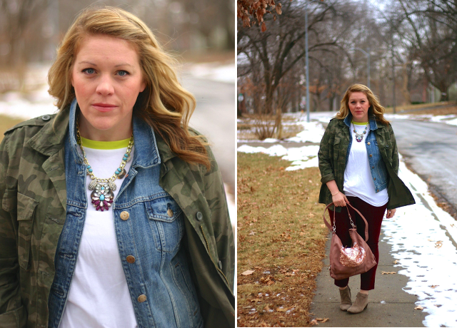 winter outfit idea with denim vest