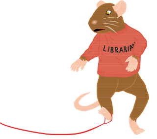 "A brown, bipedal, digitigrade house mouse stops in mid-step and looks in dismay at his right foot, which has a red thread tied around it. He is wearing a red sweater that reads ""Librarian"""