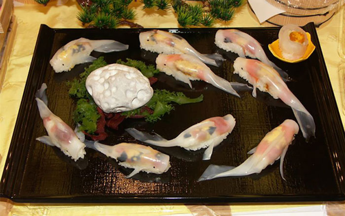 04-Rachel-and-Jun-JunsKitchen-Food-Art-Koi-Fish-Sushi-www-designstack-co