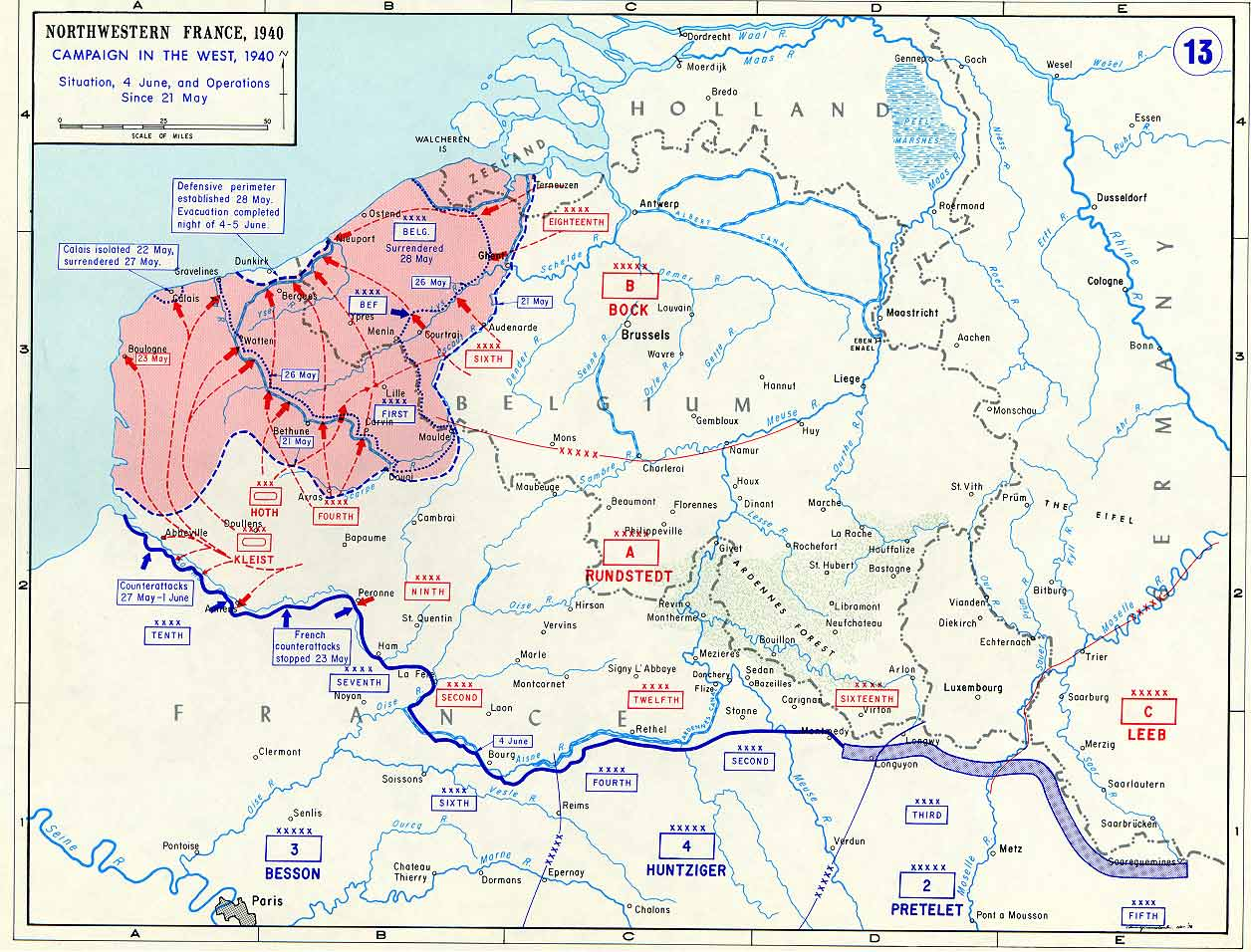 in may 21 230 000 british soldiers and around 180 000 french soldiers were separated from the rest of the allied army in the red zone of the map