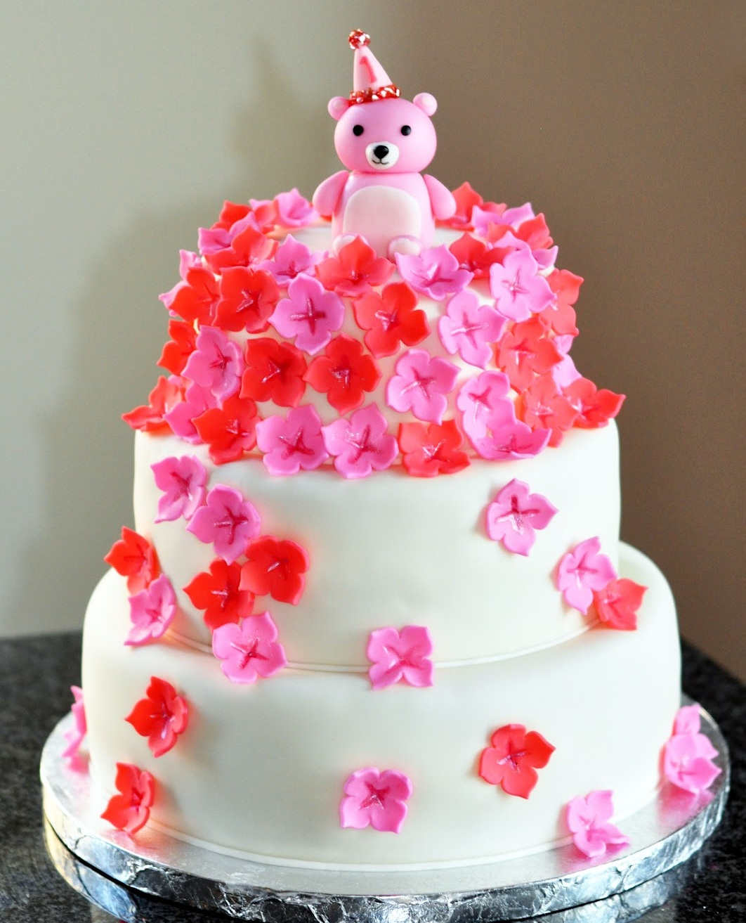 Teddy Bear Flower Cake Sweet Kats Creations