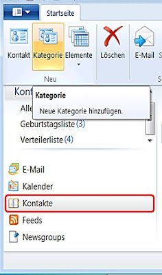 In Windows Live Mail in Kontakte eine Verteilerliste einfügen