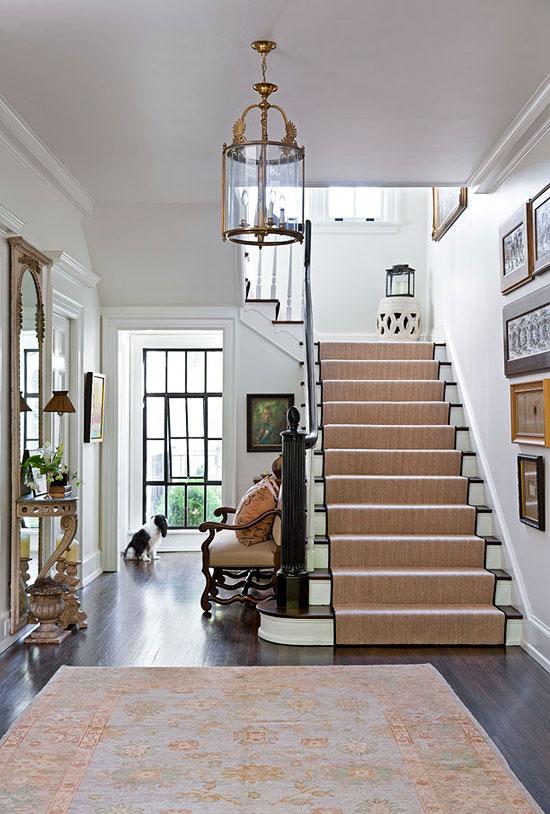 Entry Paint  Stair runner Hanging lantern