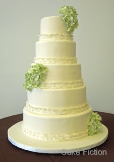 Green Hydrangeas Wedding Cake with Ruffled Ribbon