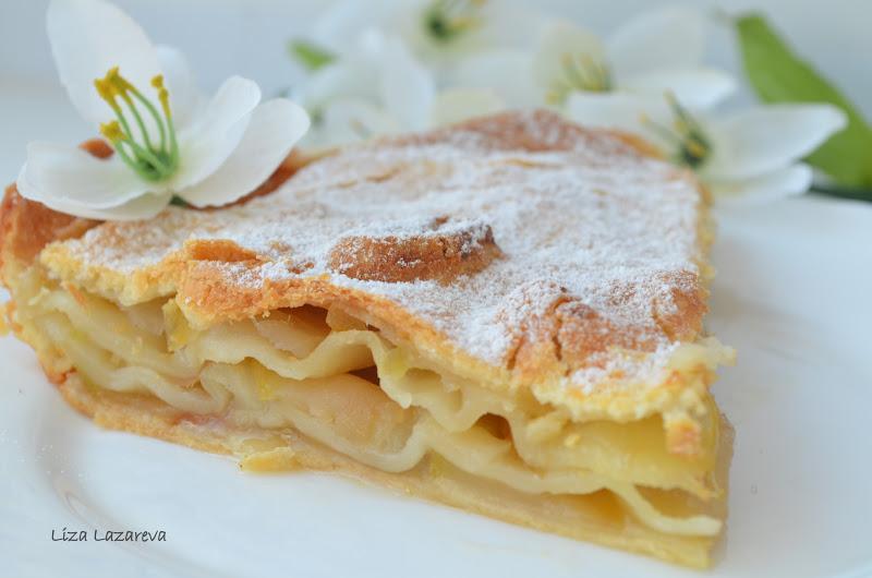 Рецепт слоеный пирог с яблоками