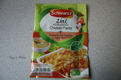 A packet of Schwartz 2 in 1 Mediterranean Chicken Pasta and Cheesy Crumb Topping