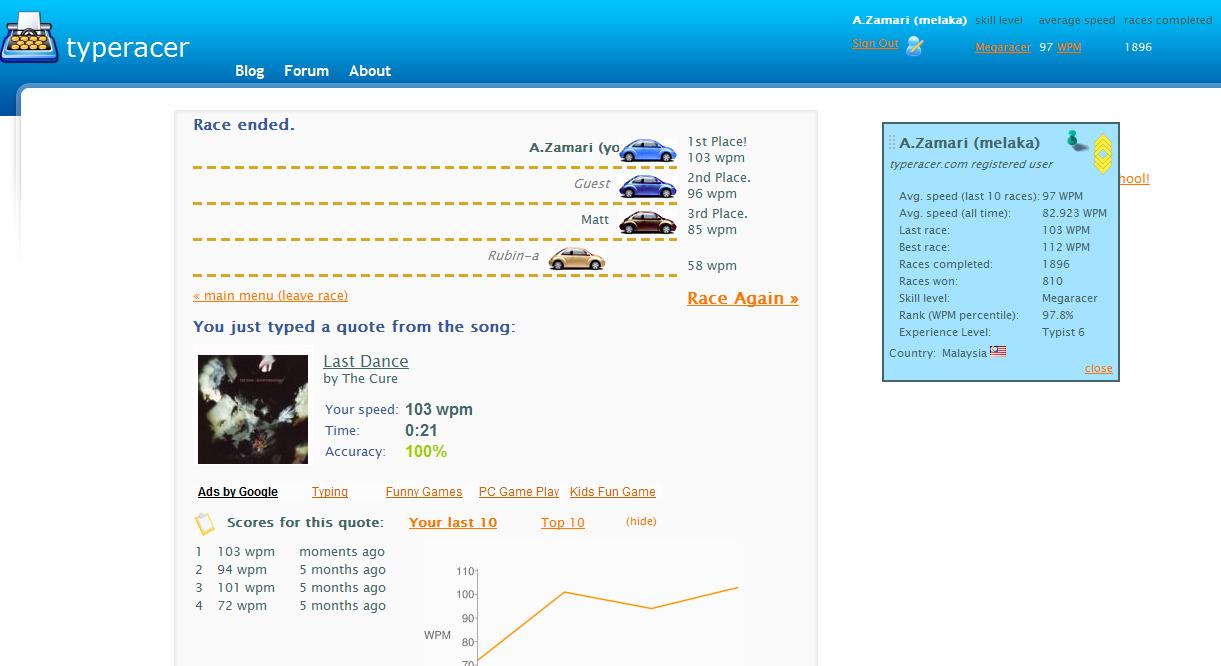 Typeracer : Average 97 WPM   A.Zamari®