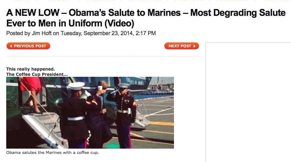 http://www.thegatewaypundit.com/2014/09/a-new-low-obamas-salute-to-marines-most-degrading-salute-ever-to-men-in-uniform/