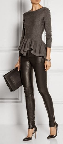 Dark Grey Shirt, Black, Leather Pants, Simple, Big, Black Clatch, Black High-Heeled Shoes And Simple Accessories ( Bracelet ).