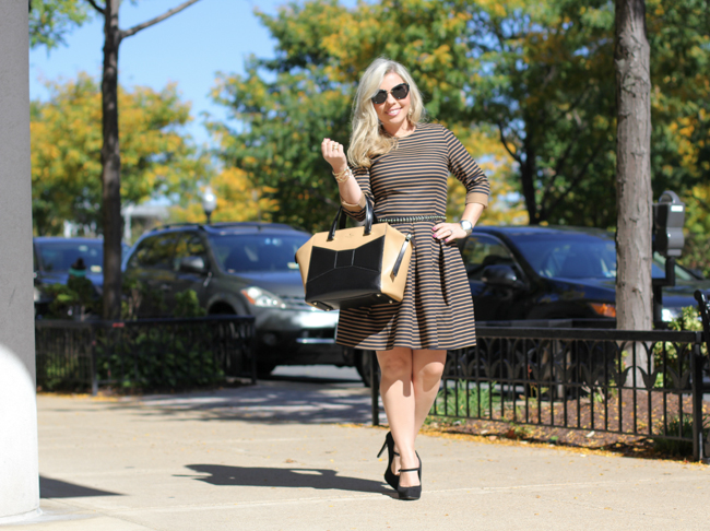 gap fitted and flared striped dress