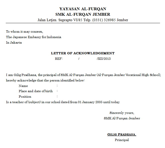 Download Contoh Surat Rekomendasi Berbahasa Inggris (file docx) Cocok