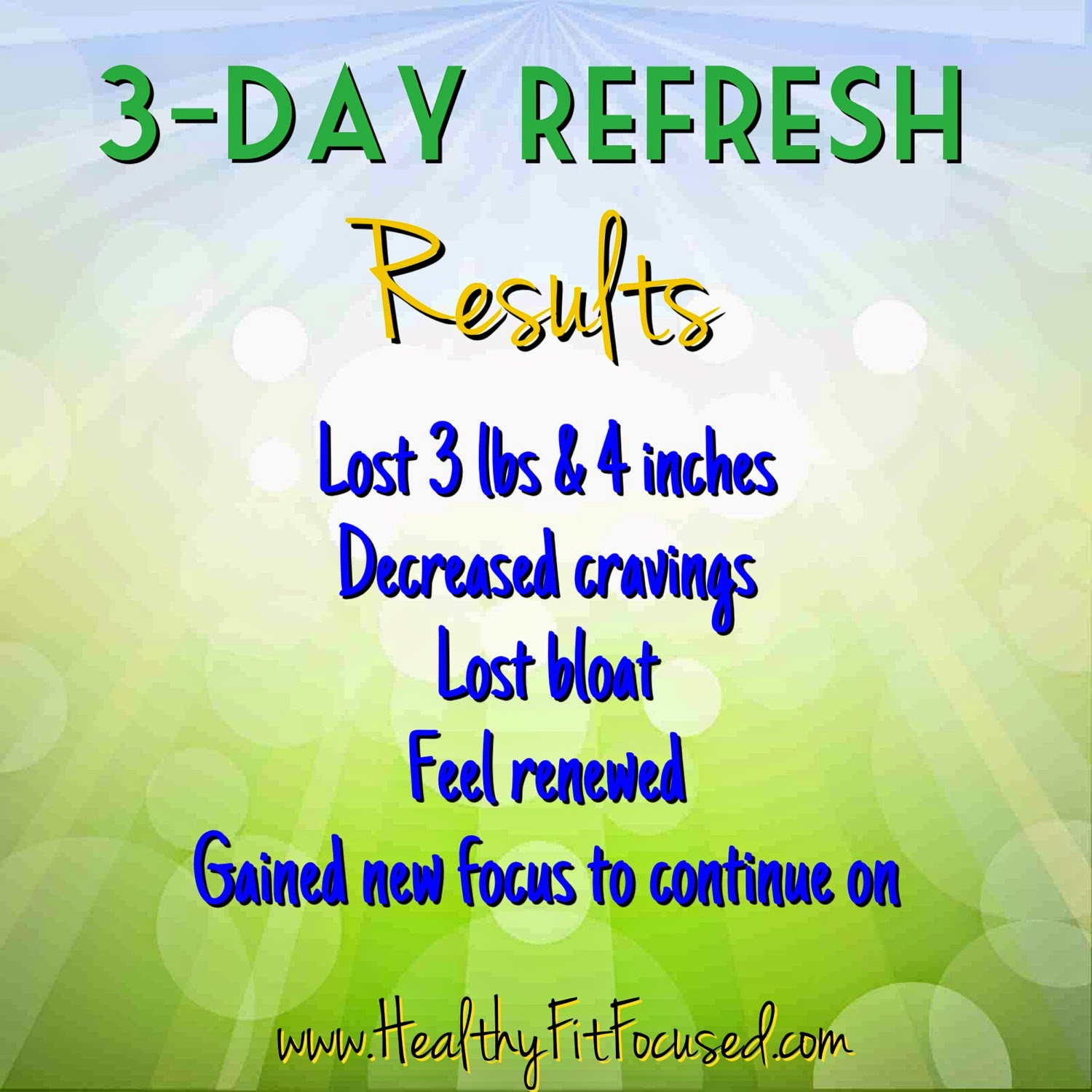 3 Day Refresh Women's Transformation and Results, www.HealthyFitFocused.com , Julie Little